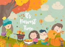Szczęśliwi kreskówek dzieci zbiera w jesień ogródzie Obraz Stock
