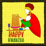 Szczęśliwi Kwanzaa powitania dla świętowania amerykanina afrykańskiego pochodzenia festiwalu wakacyjny żniwo Obraz Royalty Free