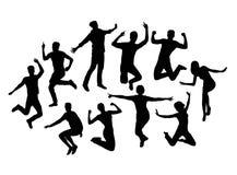 Szczęśliwi ludzie aktywność sylwetek, znak i symbol sztuki wektorowy projekt, Obrazy Royalty Free