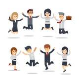 Szczęśliwi ludzie biznesu skakać drużyna pracy Grupa biznesmeni royalty ilustracja