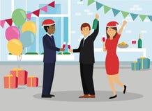 Szczęśliwi ludzie biznesu w Santa kapeluszu przy biurowym przyjęciem royalty ilustracja