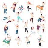 Szczęśliwi ludzie Isometric setu royalty ilustracja