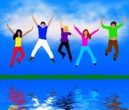szczęśliwi ludzie młodzi ilustracja wektor