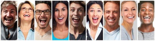 Szczęśliwi ludzie twarz setu Zdjęcia Stock