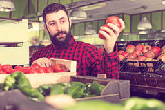 Szczęśliwi męscy sprzedawca ofiary pomidory w sklepie Fotografia Stock