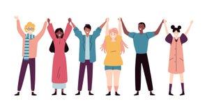 Szczęśliwi młodzi ludzie stoi wpólnie i trzyma ręki ilustracja wektor