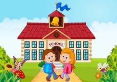 Szczęśliwi małe dzieci iść szkoła royalty ilustracja