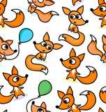Szczęśliwi mali lisy na bezszwowym deseniowym tle Zdjęcie Stock