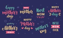 Szczęśliwi matka dnia kartka z pozdrowieniami, wakacyjni plakaty ustawiający z nowożytną kaligrafią Obrazy Royalty Free