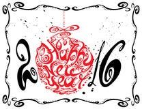 Szczęśliwi nowego roku 2016 boże narodzenia balowi ilustracja wektor