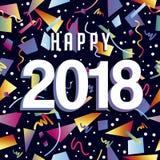 Szczęśliwi nowego roku 2018 confetti bawją się tło Fotografia Stock