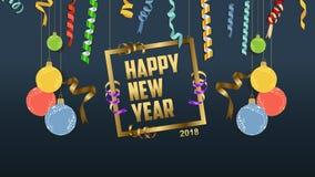 Szczęśliwi nowego roku 2018 confetti i sławy świętowanie Colorfull powitania dekoracja Obrazy Royalty Free