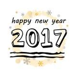 Szczęśliwi 2017 nowego roku Czarna Typograficzna Wektorowa sztuka Fotografia Royalty Free