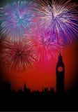 Szczęśliwi nowego roku Englsih fajerwerki Fotografia Royalty Free