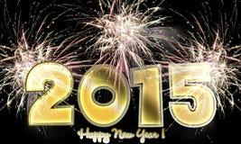 Szczęśliwi nowego roku 2015 fajerwerki Fotografia Royalty Free