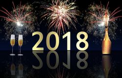 Szczęśliwi nowego roku 2018 fajerwerki i szampański wybuch obraz royalty free