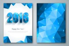 Szczęśliwi nowego roku 2016 kartka z pozdrowieniami w poligonalnym ilustracji