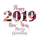 Szczęśliwi nowego roku 2019 projekta elementy dla projekta prezent karty, broszurki, ulotki, plakaty literowanie Bożenarodzeniowy Zdjęcie Royalty Free