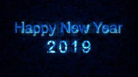 Szczęśliwi nowego roku 2019 słowa od graficznych elementów na technologii tle Wakacje animowany wirtualny cyfrowy tło