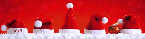 Szczęśliwi nowego roku Santa 2018 kapelusze Obrazy Royalty Free