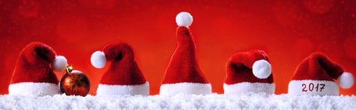 Szczęśliwi nowego roku Santa 2017 kapelusze Zdjęcia Stock