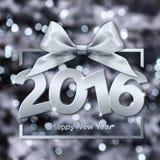 Szczęśliwi 2016 nowego roku srebny tekst z pudełkiem i faborkiem Zdjęcia Stock