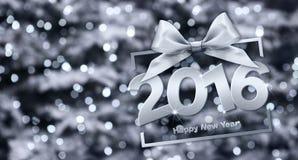Szczęśliwi 2016 nowego roku srebny tekst z pudełkiem i faborkiem Obrazy Stock