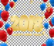 Szczęśliwi nowego roku tła dowcipu 2018 confetti Obrazy Royalty Free