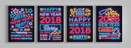 Szczęśliwi 2018 nowego roku Ustalona Plakatowa Wektorowa ilustracja Neonowi znaki Inkasowy broszurka projekt w neonowym stylu sty ilustracji