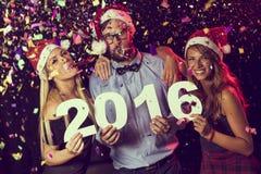 Szczęśliwi nowi 2016 rok Zdjęcia Royalty Free