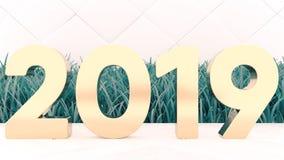 Szczęśliwi nowi 2019 rok Wakacyjny 3d ilustracyjny złoto liczy 2019 Na drewnianym tle Zielona trawa Modna pokrywa zdjęcia stock