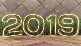 Szczęśliwi nowi 2019 rok Wakacyjny 3d ilustracyjny złoto liczy 2019 Na drewnianym tle Zielona trawa Modny okładkowy projekt fotografia royalty free