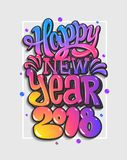 Szczęśliwi Nowi 2018 rok wokoło karcianego dzieci bożych narodzeń okręgu tanczy wigilii powitań szczęśliwego bałwanu Kolorowy lit Obrazy Stock
