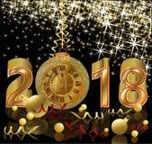 Szczęśliwi Nowi 2018 rok z złotą zegarową tapetą Zdjęcie Stock