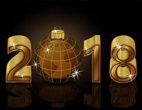 Szczęśliwi Nowi 2018 rok z złotym planety tłem Fotografia Stock