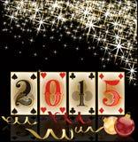 Szczęśliwi 2015 nowy rok Bożenarodzeniowa kasyno karta Fotografia Royalty Free