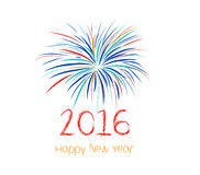 Szczęśliwi nowy rok fajerwerki 2016 wakacji tła projekt Fotografia Stock