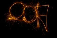 Szczęśliwi nowy rok inskrypci 2017 sparklers Zdjęcie Royalty Free