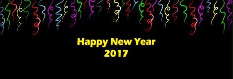 Szczęśliwi nowy rok 2017 - Jaskrawi Kolorowi faborki Zdjęcie Stock