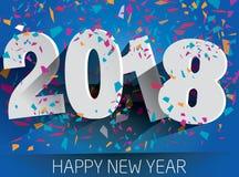 Szczęśliwi 2018 nowy rok z spada confetti Wektoru papierowy illustr Zdjęcie Royalty Free