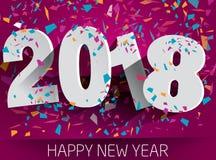 Szczęśliwi 2018 nowy rok z spada confetti Wektoru papierowy illustr Fotografia Stock