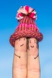 Szczęśliwi palce w niebie Fotografia Stock