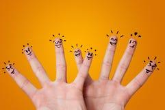 Szczęśliwi palce z brainstorming pojęciem zdjęcia stock