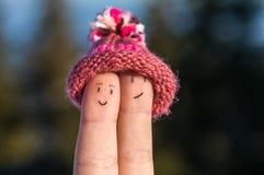 Szczęśliwi palce z nakrętką - zawsze wpólnie Zdjęcia Royalty Free