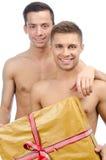 Szczęśliwi partnery i prezent Zdjęcia Stock