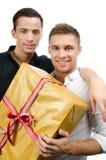 Szczęśliwi partnery i prezent Zdjęcie Royalty Free