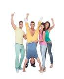 Szczęśliwi przyjaciele świętuje zwycięstwo Obrazy Stock
