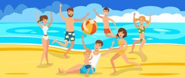 Szczęśliwi przyjaciele bawić się piłkę na plaży royalty ilustracja