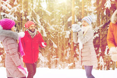 Szczęśliwi przyjaciele bawić się snowball w zima lesie Obrazy Stock