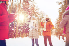 Szczęśliwi przyjaciele bawić się snowball w zima lesie Zdjęcie Royalty Free